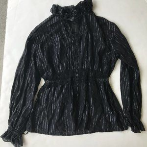 Anne Fontaine Black Blouse Ruffled Front Ties